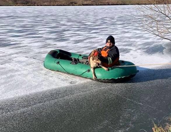 Вінницькі рятувальники врятували пса з крижаної водойми